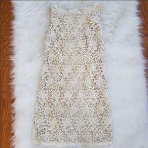Ann Taylor Floral Crochet Overlay Dress